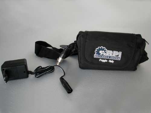 Marsupio con 1 batteria al piombo da 12V. 7 Ampere
